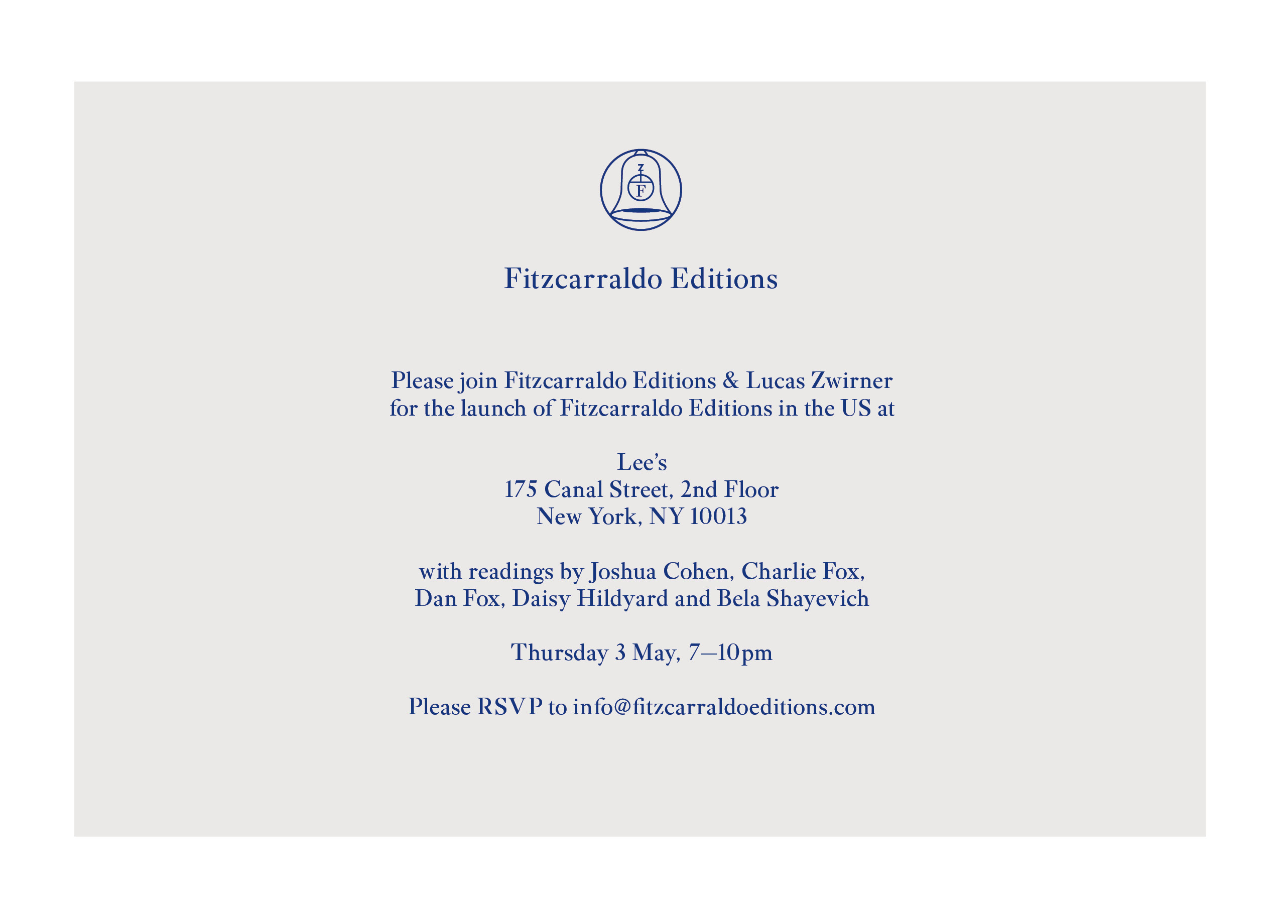 Fitzcarraldo Editions US launch party